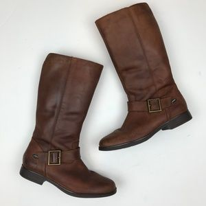 Clarks Girl Boots Brown Leather Riding Boots Zip